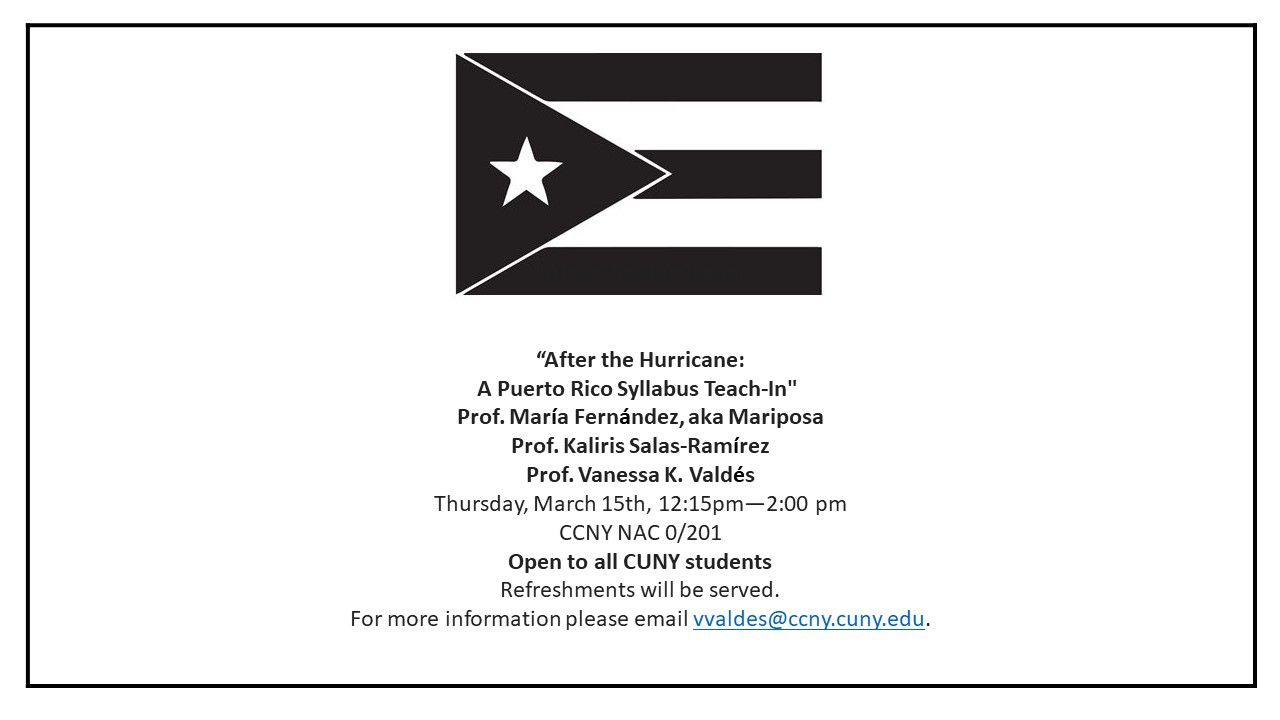 After the Hurricane: A Puerto Rico Syllabus Teach-In