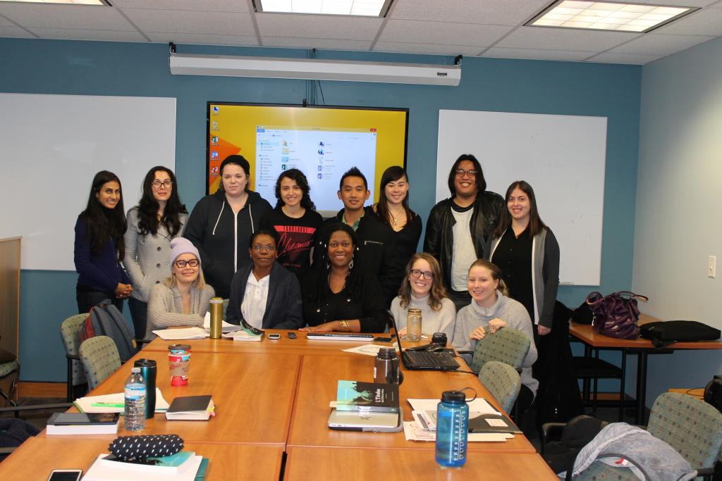 Nicole Brooks and  Hyacinth Simpson with MA students in Ryerson University's Literatures of Modernity program, February 2016. Photograph by Wendy Francis.JPG