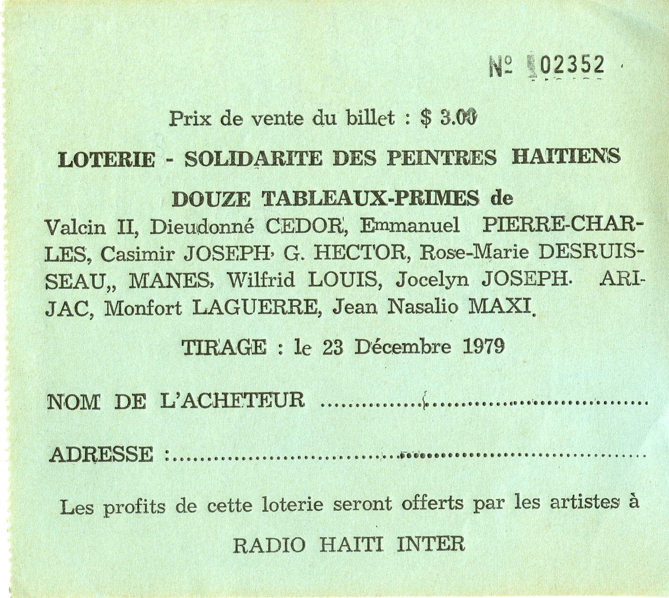 Raffle Ticket, December 1979