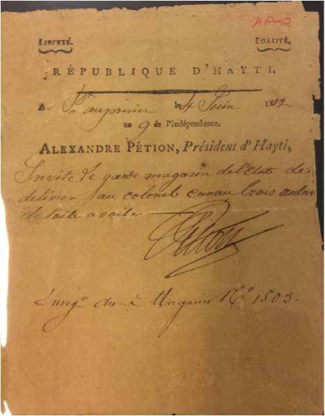 Proclamation from 4 June 1812 signed by Alexandre Pétion.